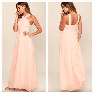 LuLus Air of Romance Peach Maxi Dress 7R